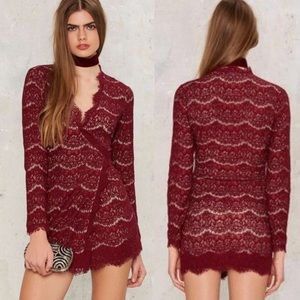 NASTY GAL MILLICENT LACE WRAP DRESS